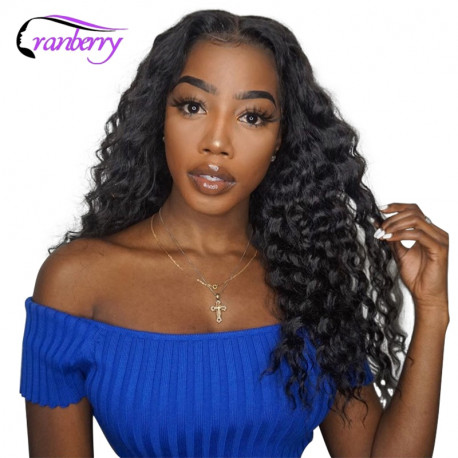 Cranberry Hair 4x4 Closure Wig Brazilian Hair Deep Wave Wig 100% Remy Hair Lace Front Human Hair Wigs Black 10-24 Inches For Wom