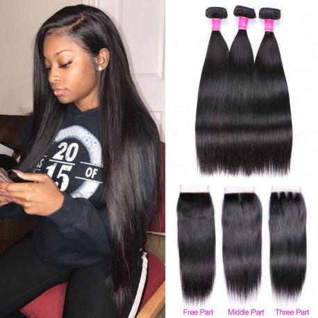 Abijale Straight Hair Bundles With Closure Brazilian Hair Weave Bundles With Closure Human Hair Bundles With Closure Non RemyAdd