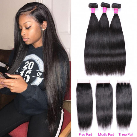 Abijale Straight Hair Bundles With Closure Brazilian Hair Weave Bundles With Closure Human Hair Bundles With Closure Non RemyAdd