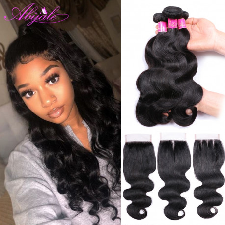 Abijale Body Wave Bundles With Closure Brazilian Hair Weave Bundles With Closure Human Hair Bundles With Closure Non-RemyAdd pro