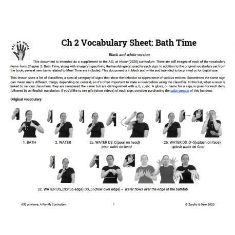 Ch 2 Vocabulary Sheet: Bath Time (B&W)
