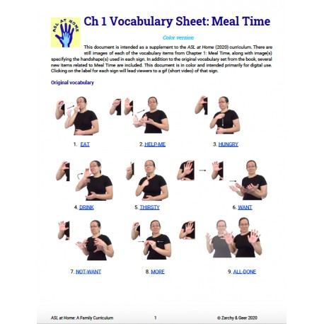 Ch 1 Vocabulary Sheet: Meal Time (Color w/ GIFs)