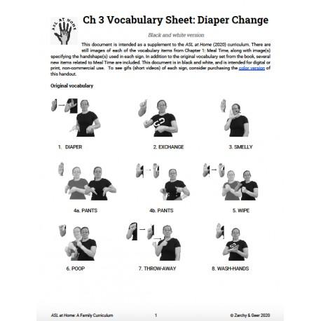 Ch 3 Vocabulary Sheet: Diaper Change (B&W)