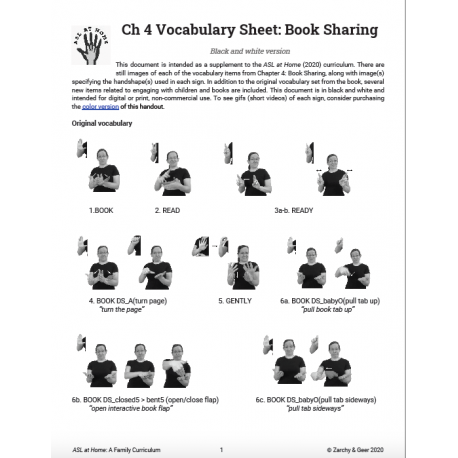 Ch 4 Vocabulary Sheet: Book Sharing (B&W)