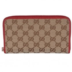 Gucci GG Original Beige Logo Canvas Leather Zip Around Red Rosso Wallet 363423