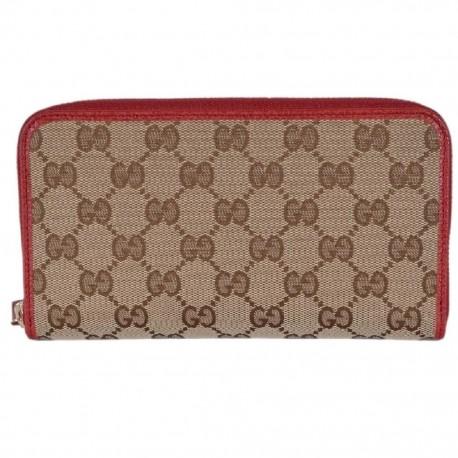 Gucci GG Original Beige Logo Canvas Leather Zip Around Red Rosso Wallet 363423