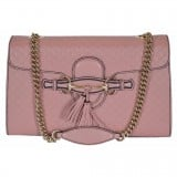 Gucci Women's Pink Emily Microguccissima Medium Leather Chain Shoulder Bag 449635