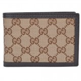 Gucci Men's Original Canvas Beige Brown GG Logo Bifold Wallet 292534