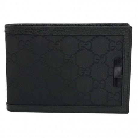 Gucci Mens Black Nylon GG Bifold Wallet 292534