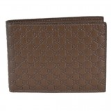 Gucci Men's Acero Brown GG Microguccissima Leather Trifold Wallet 217044