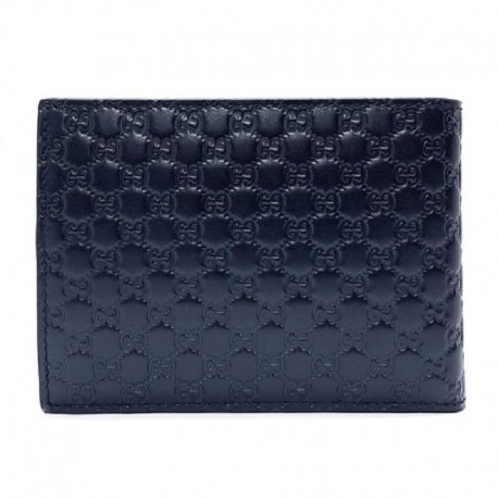 Gucci Men's Blue GG Microguccissima Leather Bifold Logo Wallet 292534