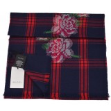 Gucci Womens Tartan Roses Midnight Blue and Red Plaid Wool Scarf 481896