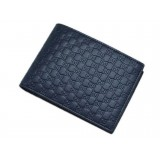 Gucci Men's Navy Blue Microguccissima Leather Bifold with Coin Pocket 367287