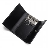Gucci Signature Mens Nero Black Microguccissima GG Calf Leather Key Case 256433