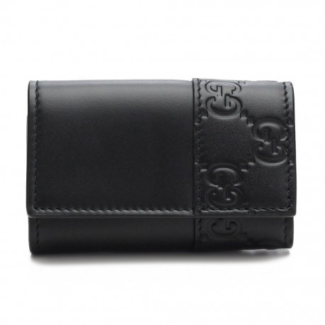 Gucci Signature Mens Nero Black Microguccissima GG Calf Leather Key Case 256433