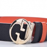 Gucci GG Dollar Calf Leather Nero Black/ Sun Orange Reversible Belt Size 90/36 450000