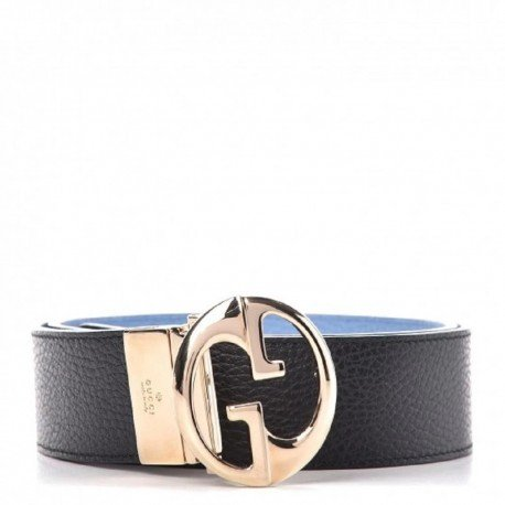 Gucci GG Dollar Calf Leather Nero Black/ Mineral Blue Reversible Belt Size 95/38 450000