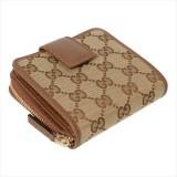 Gucci Women's Beige Original GG Canvas Brown Leather Trim French Flap Wallet 346056