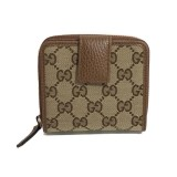 Gucci Women's Beige Original GG Canvas Brown Leather Trim French Flap Wallet 346056