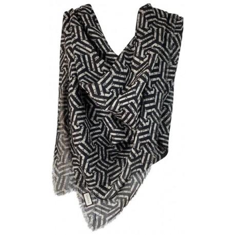 Gucci Unisex Black Beige GG Guccissima Silk Caleido Print Scarf Shawl 402106