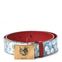 Gucci Womens Blooms GG Canvas Leather Tiger Head Buckle Belt 85/34 546384
