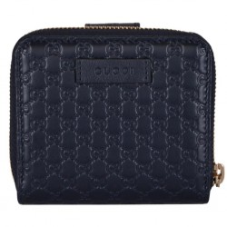 Gucci Microguccissima GG Logo Midnight Blue Zipper Leather Wallet 449395