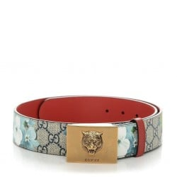 Gucci Womens Blooms GG Canvas Leather Tiger Head Buckle Belt 95/38 546384