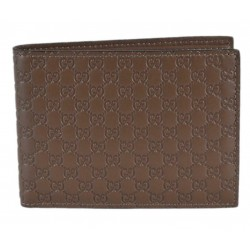 Gucci Mens Acero Brown Microguccissma GG Embossed Leather Bifold Wallet 278596