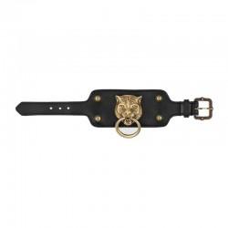 Gucci Womens Black Gold Feline Head Pelle Toscano Leather Cuff Bracelet 504036