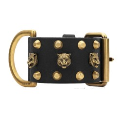Gucci Womens Black Gold Buckle Pelle Toscano Tiger Leather Cuff Bracelet 477034