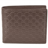 Gucci Mens Acero Brown GG Microguccissima Embossed Leather Bifold Wallet 260987