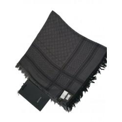 Gucci Womens GG Guccissima Black and Grey Survive Silk Scarf Shawl Wrap 544615