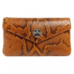 Gucci Womens Broadway Genuine Envelope Cognac Python Skin Leather Clutch 525008