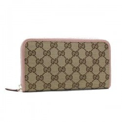 Gucci Womens GG Original Beige Logo Canvas Soft Pink Leather Trim Wallet 363423