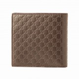 Gucci Mens Acero Brown Microguccissima GG Soft Embossed Leather Bifold Wallet 150413
