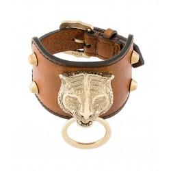 Gucci Womens Cuir Brown Feline Head Tiger Pelle Toscano Leather Cuff Bracelet 504036