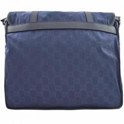 Gucci Large Blue Nylon Leather GG Guccissima Messenger Bag 510334