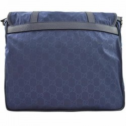 Gucci Large Blue Nylon Leather GG Guccissima Messenger Bag 510334