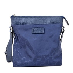 Gucci Womens Small GG Guccissima Navy Blue Nylon Messenger Crossbody Bag 510339