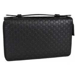 Gucci Large Men's Brown Microguccissima GG Logo Double Zipper Travel Case 449246