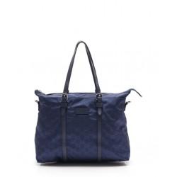 Gucci Zip Top Guccissima Navy Blue Detachable Strap GG Nylon Tote Handbag 510332