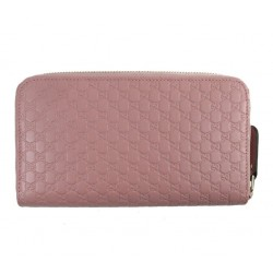 Gucci Women's Soft Pink Microguccissima GG Zip Around Leather Wallet 449391