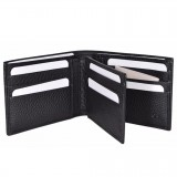 Gucci Men's Black Pebbled Leather Trifold Wallet Gucci Embossed 333042
