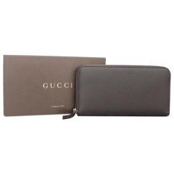 Gucci Dark Brown Pebbled Dollar Calf Leather Zip Around Continental Wallet 391465