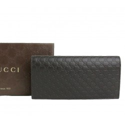 Gucci Mens Microguccissima Brown Leather ID Window Long Wallet 449245