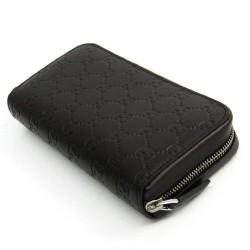 Gucci Signature Mens Cocoa Brown GG Microguccissima Calf Leather Zip Wallet 278635