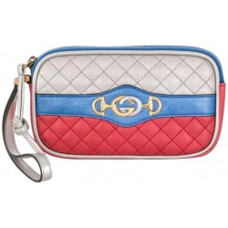Gucci Womens Dionysus Quilted Silver Blue and Red Leather Gold Horsebit Phone Case 542202
