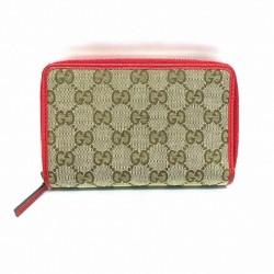 Gucci Womens Original GG Dollar Calf Beige Canvas Red Leather Trim Wallet 420113