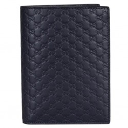 Gucci Mens Midnight Blue GG Logo Vertical Passport Holder Microguccissima Soft Leather 496948