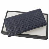 Gucci Mens Microguccissima GG Logo Blue Soft Embossed Leather Long Card Case Wallet 544479